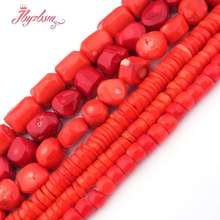 """Heishi красные оранжевые коралловые бусины натуральный камень свободные бусины для DIY Ожерелье Браслеты Изготовление ювелирных изделий 1"""""""