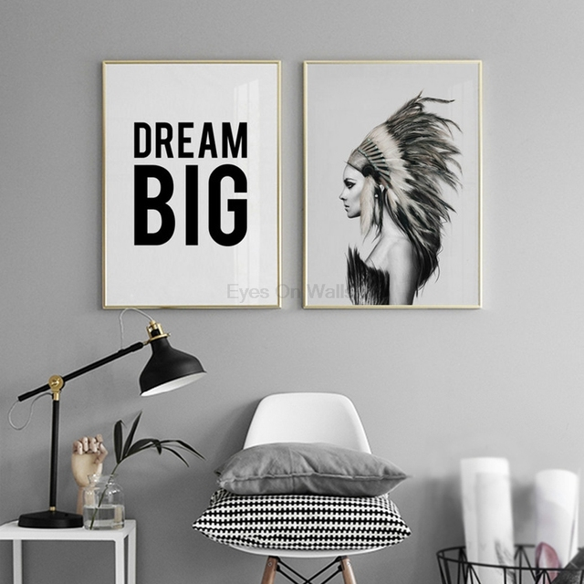 No Frame Indian Figure Painting Poster Black White Canvas For Bedroom Wall Picture Nordic Art