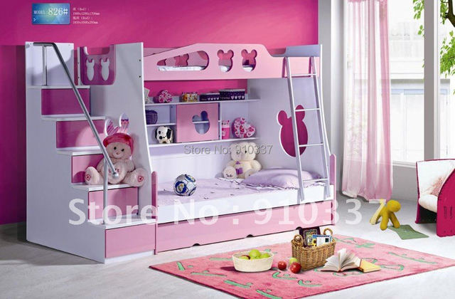 Mdf Panels Kids Bed Full Bunk Bed With Stairs And Underbed Storage