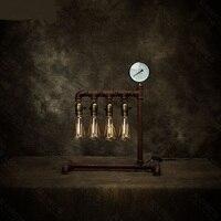 Украшения Настольные лампы балкон ресторан спальня кофе бар промышленные водопровод Утюг четыре регулируемый свет настольная Лампы для мо