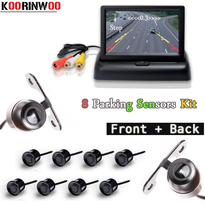 Koorinwoo Dual Core Car Parking Sensors 8 Radars 4.3 Car Monitor TFT LCD Alarm Font Form Camera Rear view Camera Parktronic koorinwoo car parking sensors 8 sensors