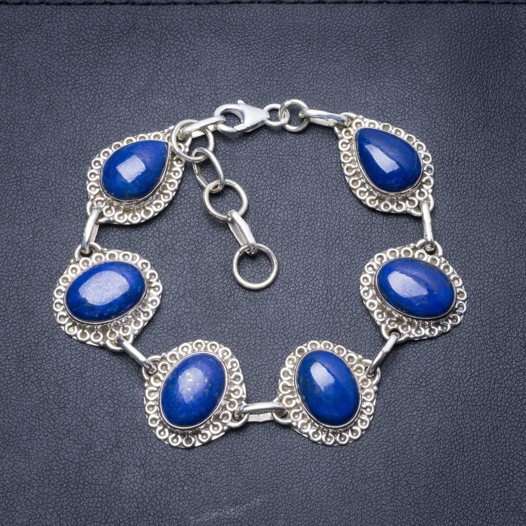 Natural Lapis Lazuli Handmade Unique 925 Sterling Silver Bracelet 7 1/2-8 1/2