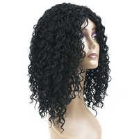 Soowee Curly Black Color Synthetic Hair Wigs for Black Women Party Hair Cosplay Wigs Hair Accessories Hairpiece