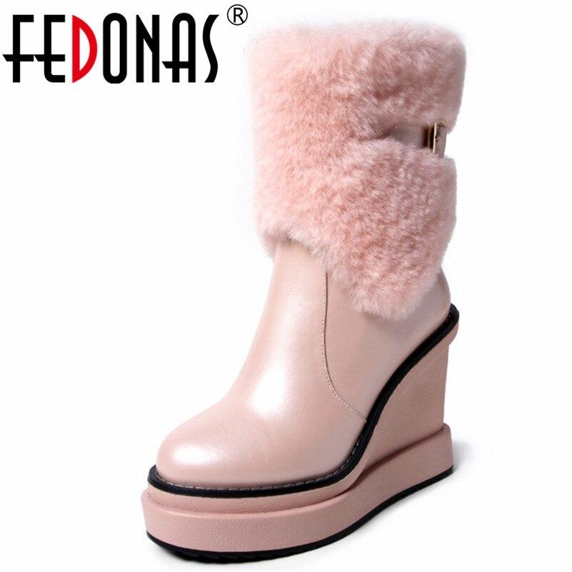 FEDONAS Top Quality Women Mid-calf Boots Wedges High Heels Winter Snow Boots Buckles Platforms Zipper Short Martin Shoes Woman стоимость