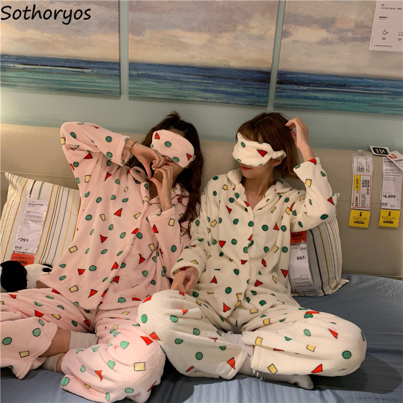 Pajamas     Sets   Women Turn-down Collar Printing Kawaii Homewear   Set   Womens Winter Flannel Long Sleeve Two Pieces Lovely Sleepwear
