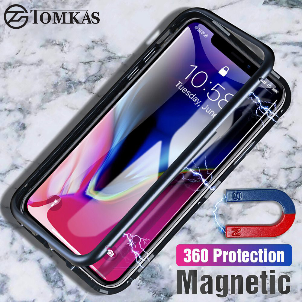 TOMKAS Adsorption Metal Case For iPhone X Case Magnetic Tempered Glass For iPhone 8 7 Plus 6 6S Protective Phone Cases Luxury