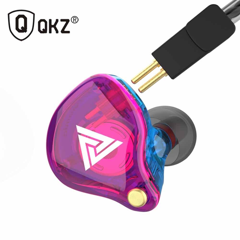 Оригинальные QKZ VK4 красочные DD наушники гарнитура HIFI бас шумоподавление наушники с микрофоном замена кабеля Наушники