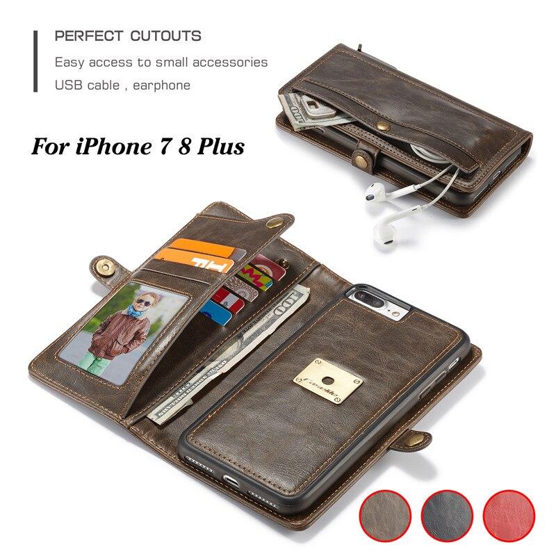 Caseme чехол для телефона iPhone 7 8 плюс Роскошный Ретро съемный кожаный флип Бумажник слот для карт памяти 2 в 1 назад чехол для iPhone 7 Plus