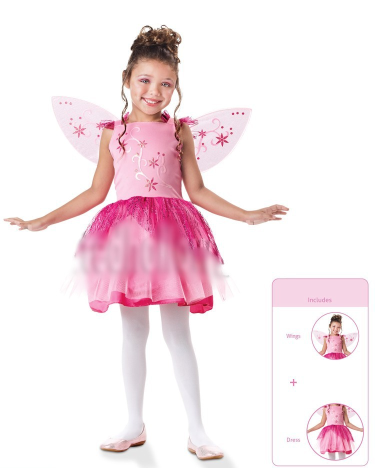 Cute Little the wizard Fairy with wings costume Girl39s