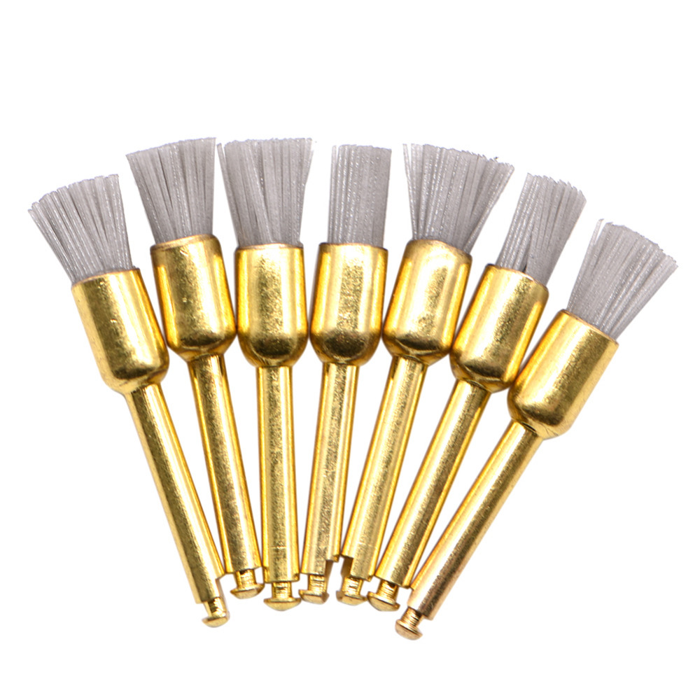 10Pcs/lot Dental Polishing Brush Silicon Carbide Nylon Latch Flat Polishing Polisher Prophy Brushes Bristles Dental Lab Material