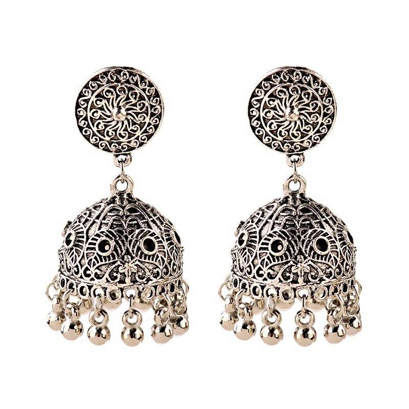2020 perempuan Perunggu / Warna Silver Vintage Etnis Jhumka Jhumki - Perhiasan fashion - Foto 6