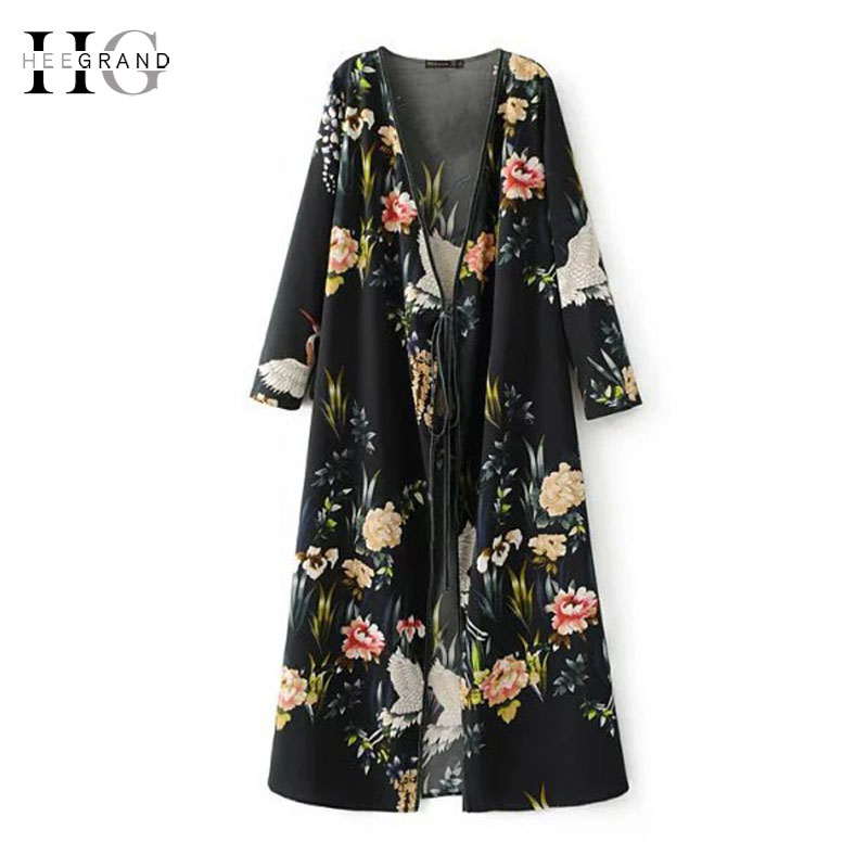 HEE GRAND 2018 Spring Women Long Kimono   Trench   Floral Open Stitch With Belt Coats Casual High Street Outwear WWK629