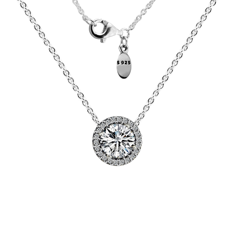 Necklaces 100% 925 Sterling-Silver-Jewelry Classic Elegance Necklace with Clear CZ  Silver Necklaces for Women Fine JewelryNecklaces 100% 925 Sterling-Silver-Jewelry Classic Elegance Necklace with Clear CZ  Silver Necklaces for Women Fine Jewelry
