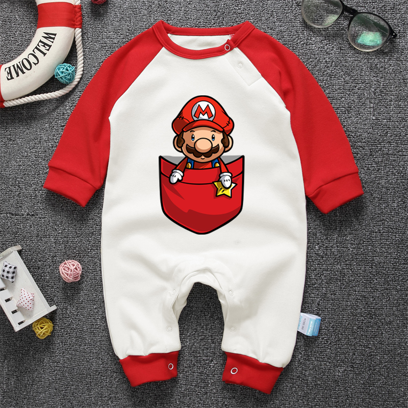 2018 Autumn Baby Newborn Rompers Long Sleeve Cartoon Super Mario Louis Clothes Boys Cotton Jumpsuit High Quality mother nest 3sets lot wholesale autumn toddle girl long sleeve baby clothing one piece boys baby pajamas infant clothes rompers