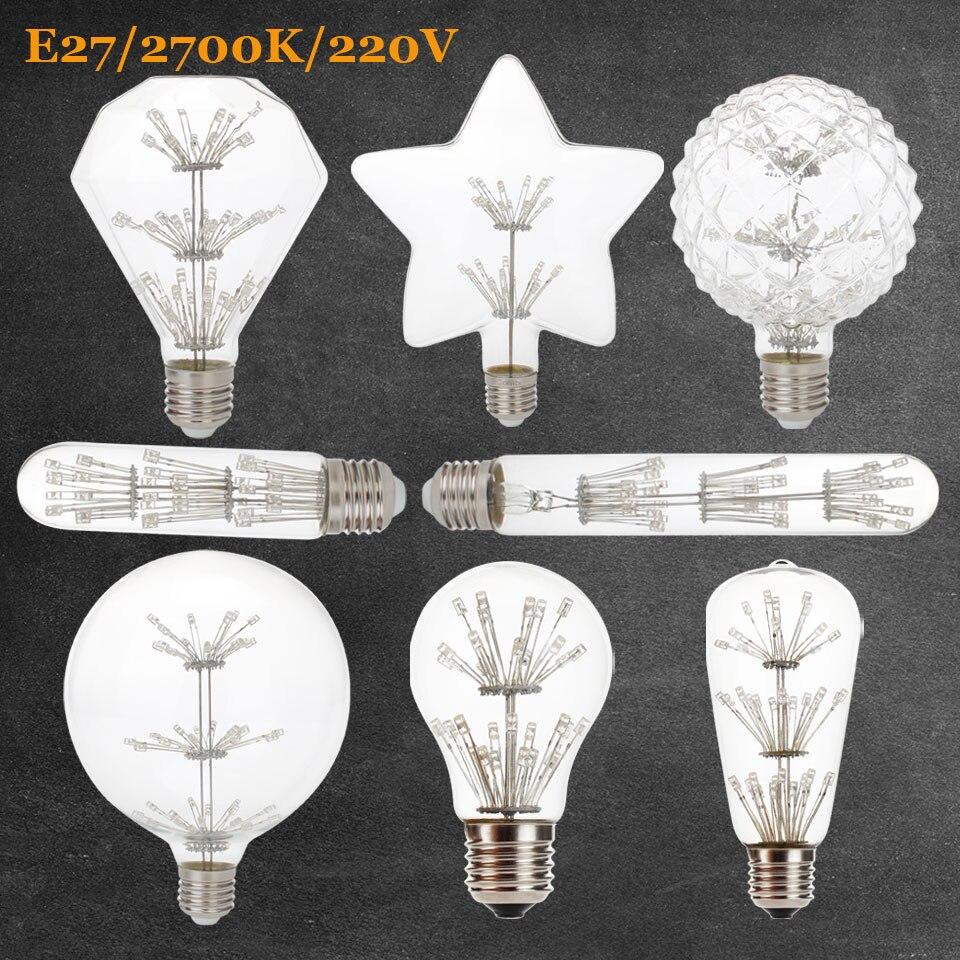 Spiral LED Filament Light Bulb E27 G125 A60 ST64 T30 Star 3W 2700K Retro Vintage Lamps Home Decorative Lighting 220V 240V e27