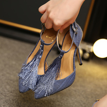Free shipping spring women's sexy pointed toe buckle tassel high heel shoes