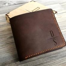 Personalized name monogram Mens Wallet Leather Groomsmen husband Valentine's fat