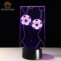 Novelty Football 3d LED Night Light Acrylic Football Lampshade Colorful Atmosphere Lamp Kids Bedroom Table Desk Lighting Fixture