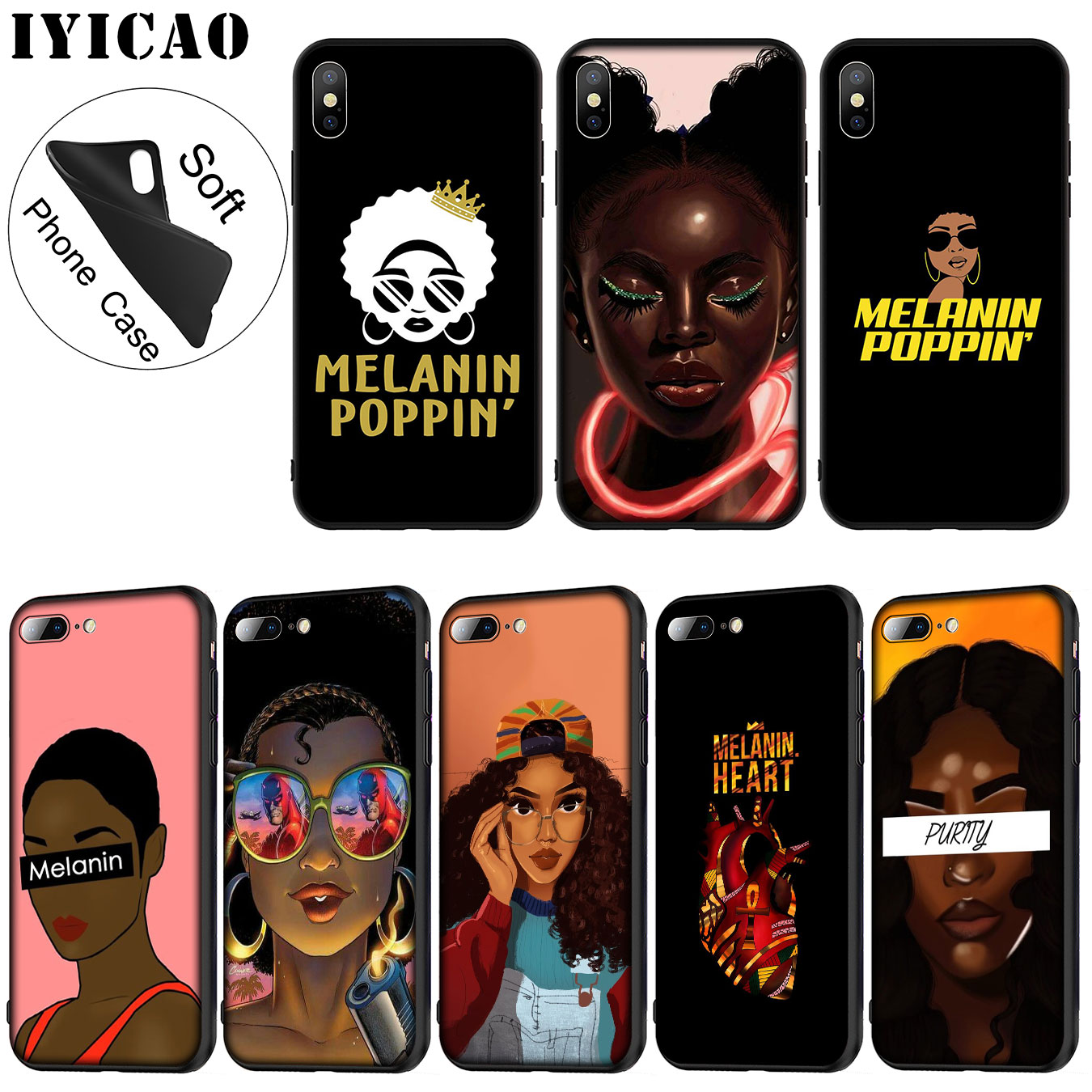 Phone Bags & Cases Disciplined Iyicao 2bunz Melanin Poppin Soft Silicone Phone Case For Iphone Xr X Xs Max 6 6s 7 8 Plus 5 5s Se Tpu Black Cover Fitted Cases