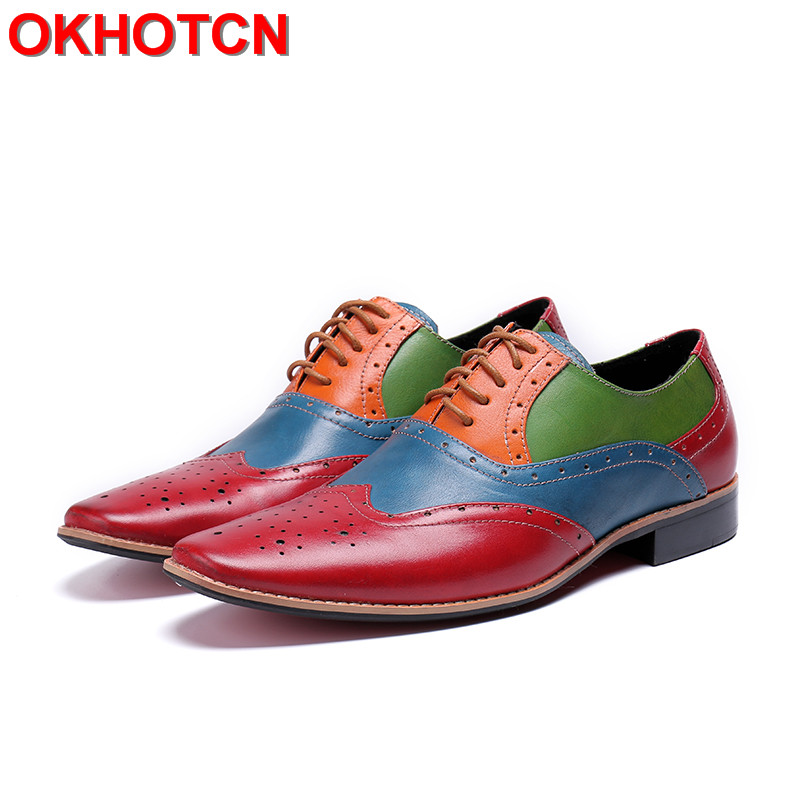 Mixed Colors Italian Mens Dress Shoes Lace Up Brogue Leather Oxford Shoes Men Elegant Plus Size 47 Men Shoes Classic Comfortable
