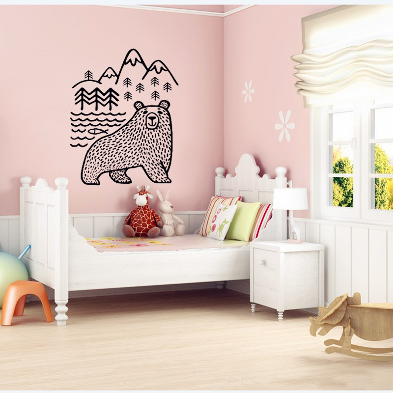 2016 New Design Cartoon Bear Wall Sticker Let Home Decoration To Nature Personalized Wall Art Decor Abstract Style High Quantity