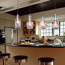 Bottle Design American Style LED Pendant Light Hanging Lamp With 4 Lights For Bar Artistic Glass Blowing
