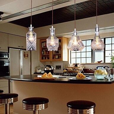 Bouteille Design de Style Américain LED Pendentif Lumière Lampe Suspendue Avec 4 Lumières Pour Bar Artistique Verre De Soufflage