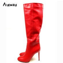Aiyoway Women Knee Boots Slip On Winter Autumn Fashion Ladies Round Toe High Heel Party Dress Sexy Boots  Spice Red Size 5~15 aiyoway fashion women ladies round toe low heel lace up over kne boots warm winter party dress shoes black russia size 36 40