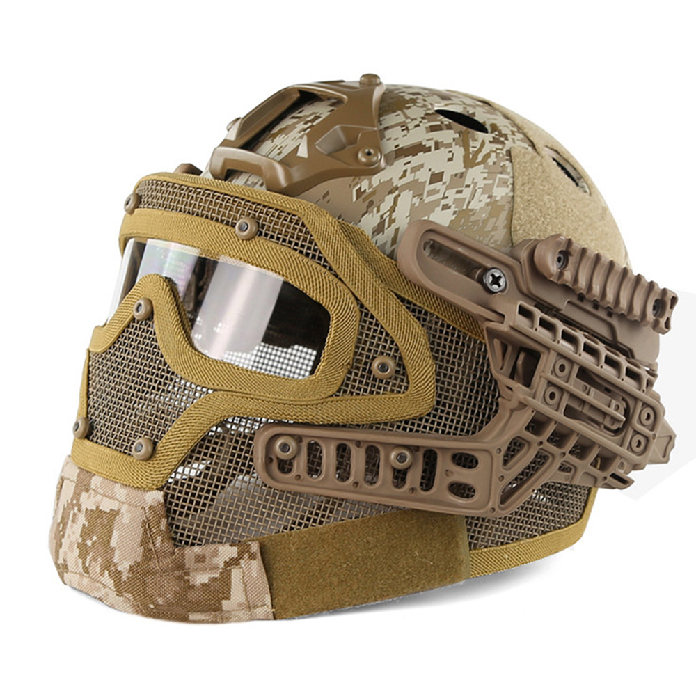G4 System Tactical PJ Military Helmet Fullface With Protective Goggle and Mesh Face Mask Airsoft Helmets for War Game купить в Москве 2019