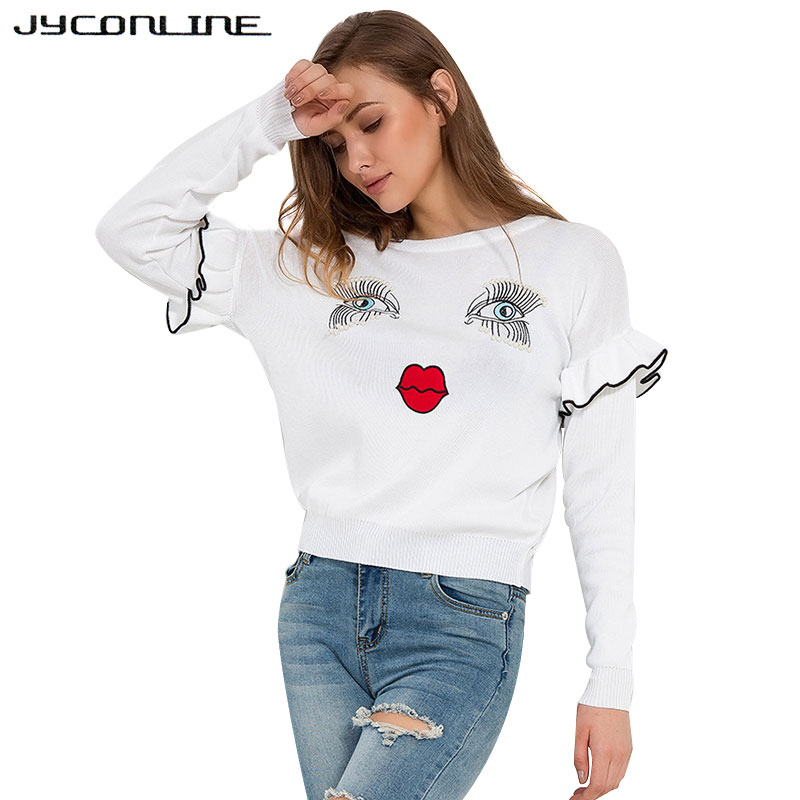 a0df6e19b1 JYConline Sweet Eyelash Beading Sweaters For Women Autumn Pullover Femme  Long Sleeve Ruffles Women Sweater Knitted Jumper Tops-in Pullovers from  Women s ...