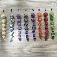 1set 7pcs Embossed Heavy Metal Polyhedral Dice Dungeons & Dragons RPG With Bag Poker Party Table Board Role Playing Dices
