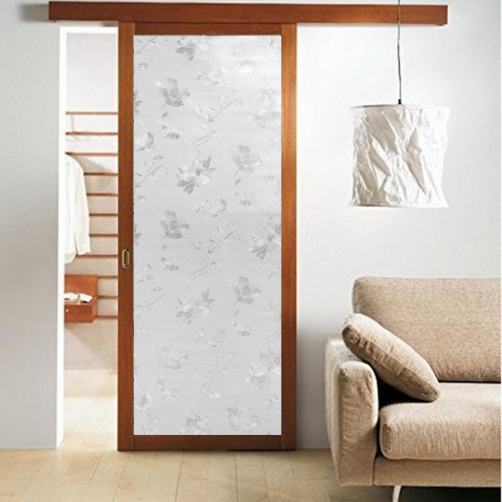 45 100cm self adhesive flower glass window decorative film bedroom bathroom privacy glass. Black Bedroom Furniture Sets. Home Design Ideas