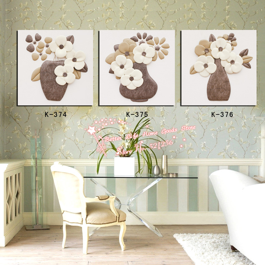 Modern Wall Art Home Decoration Printed Oil Painting Pictures 3 Piece Abstract Flowers in Vase Cozy Living Room Canvas Prints