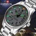 NUEVA Tritio Carnaval hombres reloj Impermeable luz verde de plata de acero inoxidable Zafiro reloj de Cuarzo relogio masculino