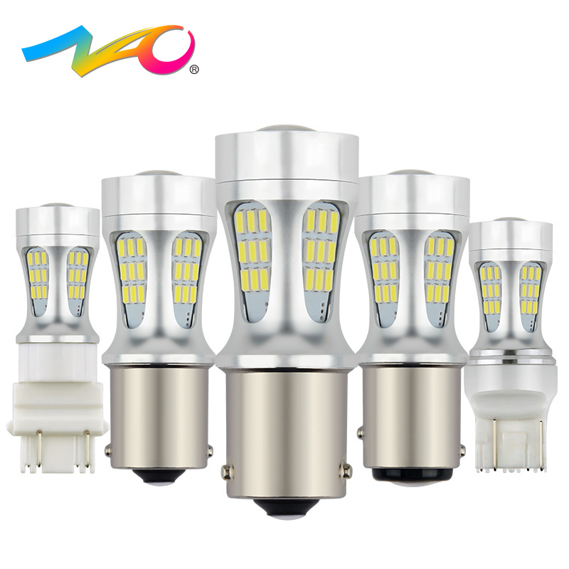 цена на NAO 2x p21w led bulbs car light py21w led 1156 ba15s t20 p21/5w auto led 12V bay15d 1157 bau15s w21w w21/5w t25 5W DRL Tail lamp