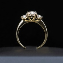 2017 New 2Ct 925 Sterling Silver Ring for Women CZ Zircon Wedding Rings Brand Gold Color Fashion Rings Wholesale Jewelry