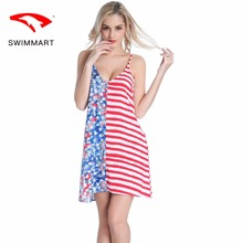Europe and the United States new sexy deep V back sling artificial cotton seaside resort beach dress long skirt SWIMMART 2018 limited real princess s new woman s dress ribbon chiffon bohemia long skirt and seaside resort