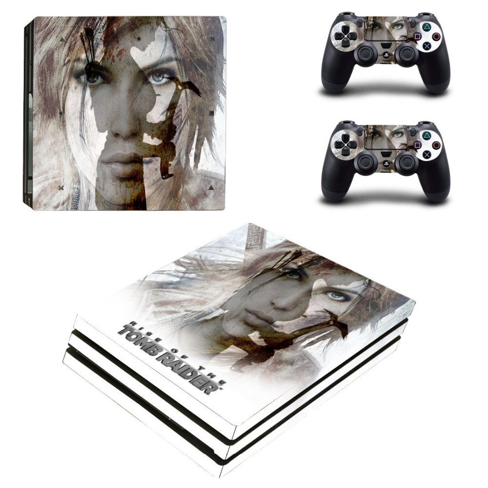 The Rise of Tomb Raider PS4 Pro Skin Sticker For Sony PlayStation 4 Pro Console and 2 Controllers PS4 Pro Skin Stickers Decal