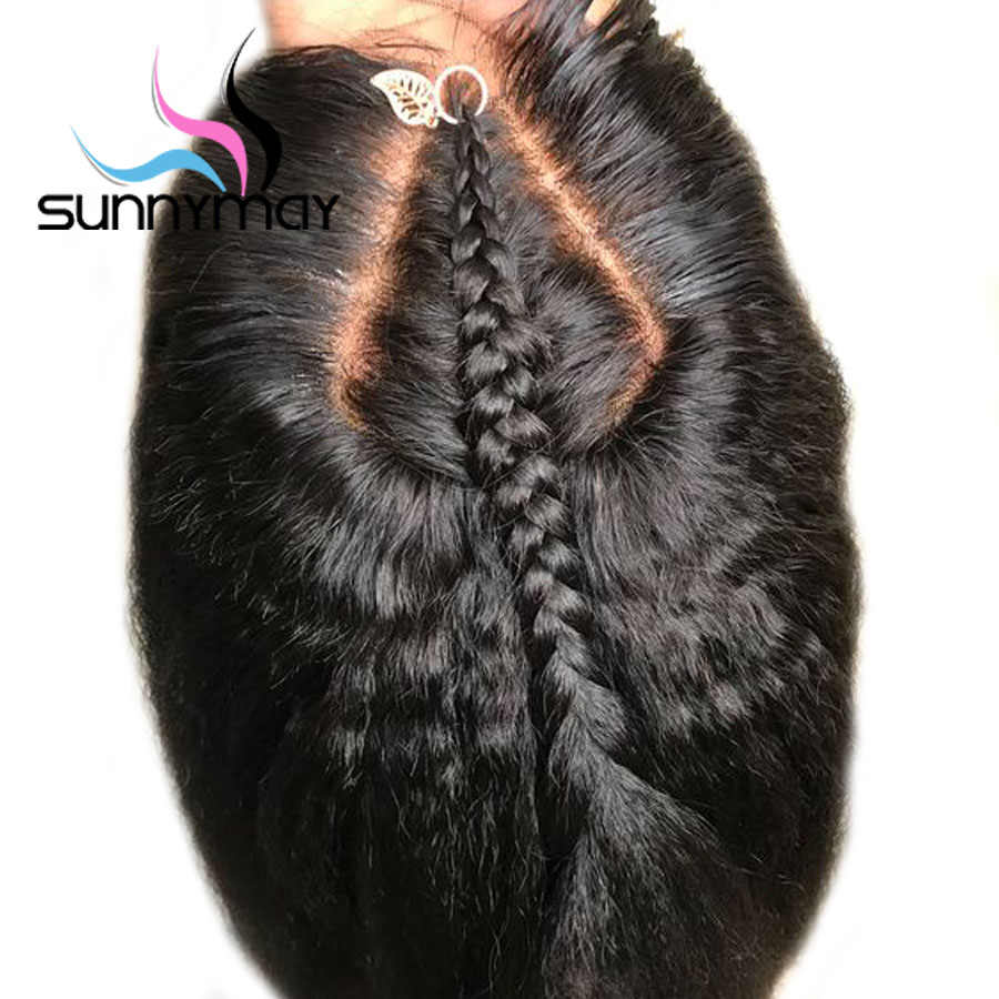 Sunnymay 13x4 Kinky Straight Parykker Med Baby Hair Pre Plukket Lace Front Human Hair Parykker 130% Remy Hair Peruvian Lace Front Parykker