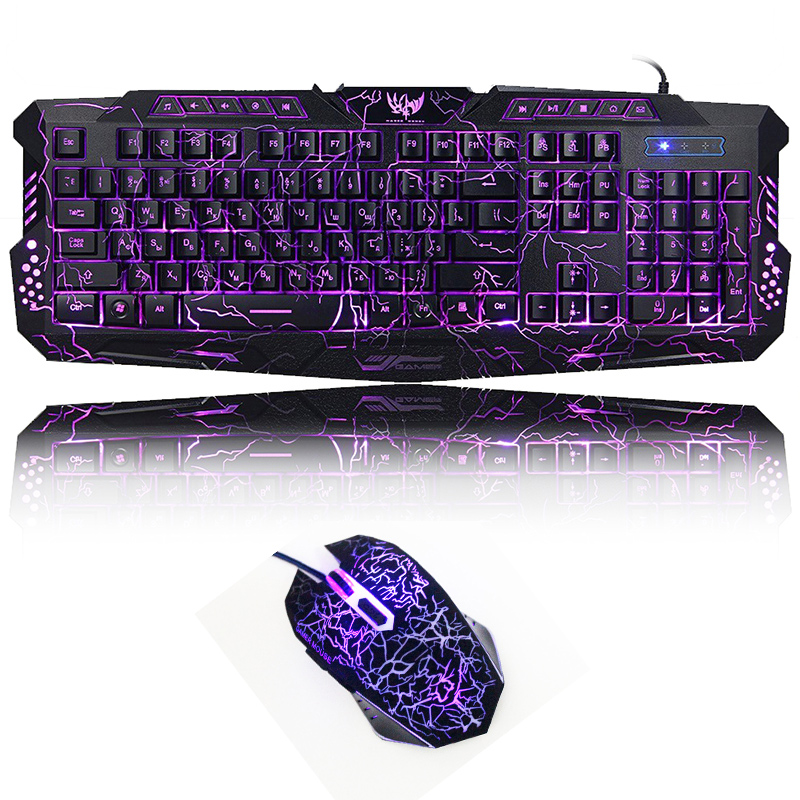 Gaming Backlight Keyboard Mouse Combos LED USB Wired Colorful Breathing Crack Gaming Keyboard For Desktop Laptop Russian Sticker