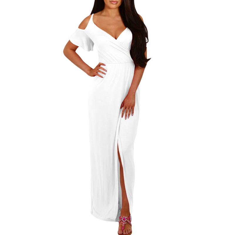Women Summer Sexy Split Maxi Dress Cold Shoulder Long Jersey Dresses ladies short sleeve solid New Fashion dress Vestidos E61546