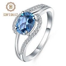 פנינה של בלט 1.57Ct טבעי לונדון טופז הכחולה חן טבעות למסיבה להקת טבעת 925 סטרלינג כסף נשים תכשיטים של מתנה