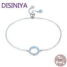 DISINIYA Genuine 100% 925 Sterling Silver Fashion Round Circle Light Blue Enamel Chain Link Bracelet Women Luxury Jewelry SCB041