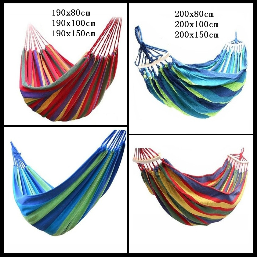 Leisure Outdoor Rainbow Double Canvas Hammocks Ultralight Camping Hammock With Backpack Portable Outdoor Hammocks