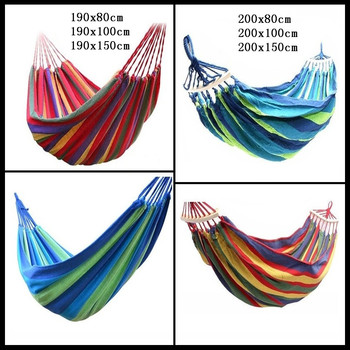 Leisure Outdoor Rainbow Double Canvas Hammocks Ultralight Camping Hammock With Backpack Portable - discount item  5% OFF Outdoor Furniture