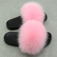 RUIYEE Ms. Real Slipper Luxury Fox Fur Beach Sandals Fluffy Comfortable Hairy Slipper Sandals