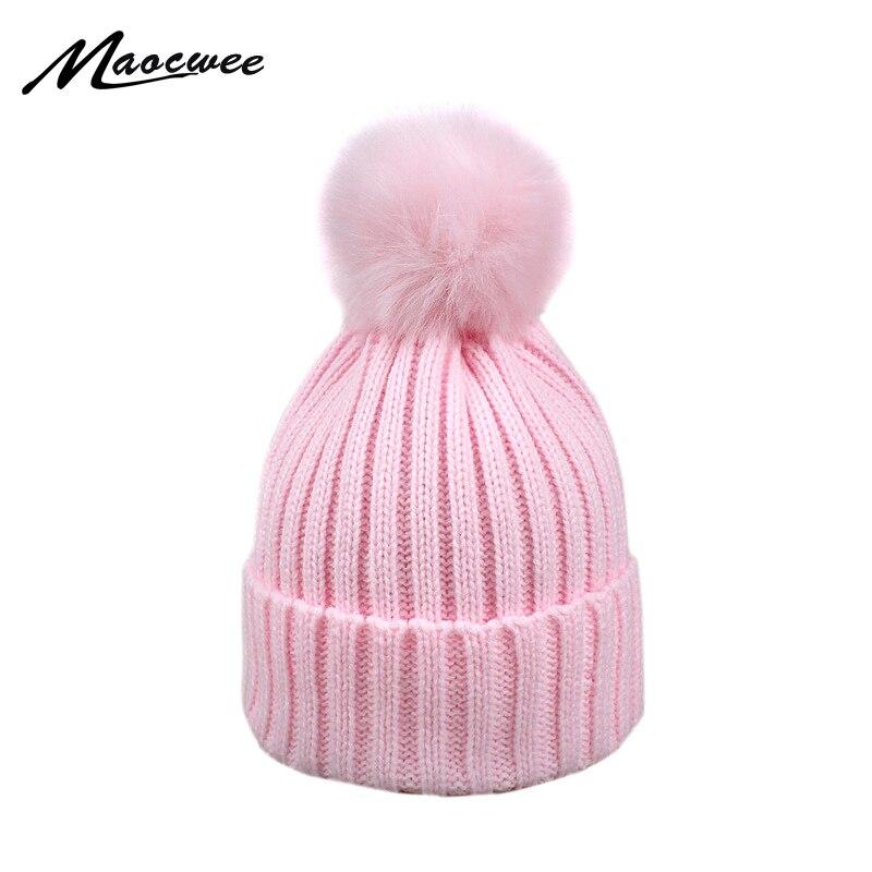 Fur Pompom Hat Winter Hat Men   Skullies     Beanies   Women Warm Cap Elasticity Knit   Beanie   Hats Children Fur Pom Pom Hats Girls Boys
