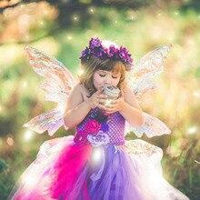 Фиолетовое платье пачка принцессы для рождественской вечеринки для маленьких девочек; Красивые Сказочные Детские Платья с цветочным принтом и бабочками; Костюм на день рождения и свадьбу