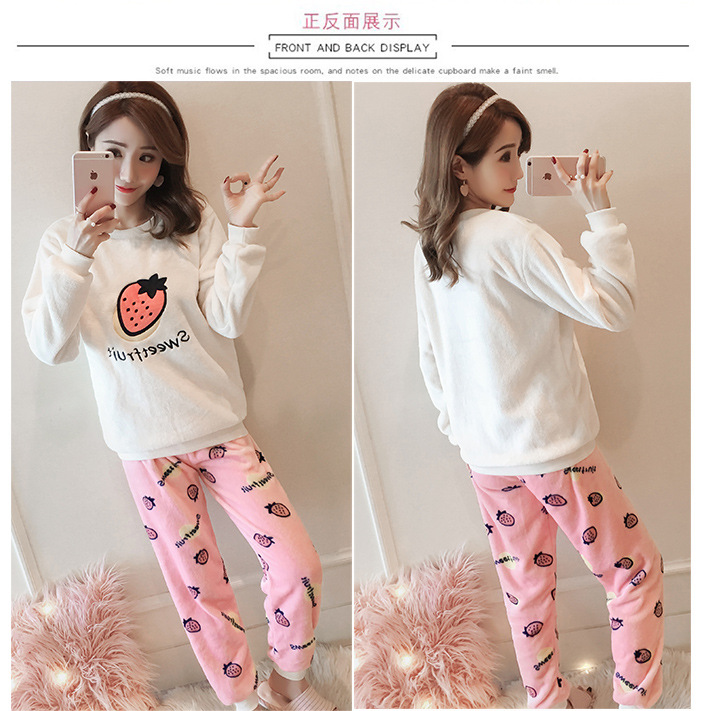 High Quality Women Pajama Sets Winter Soft Thicken Cute Cartoon Flannel Sleepwear 2 pcs/Set Tops + Warm Pants Home Clothes Mujer 107