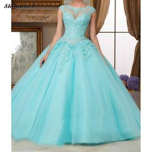 Image 3 - תחרה ארוך ערב המפלגה שמלה יפה עיצוב גדול מטוטלת סוג נשים שמלות בתוספת גודל Xxxl Skyblue ורוד קצר שרוול שמלות